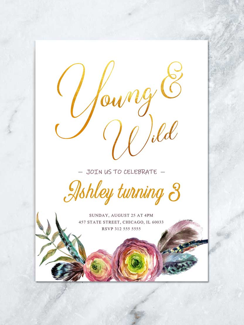 boho girl 3rd birthday invitation printable or printed young wild and three floral party invite