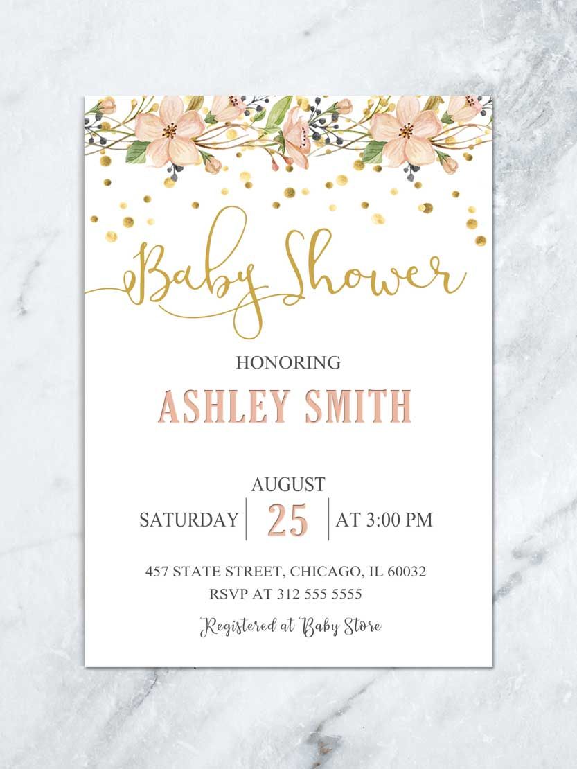 Floral Baby Shower Invitation Garden Baby Shower Luncheon