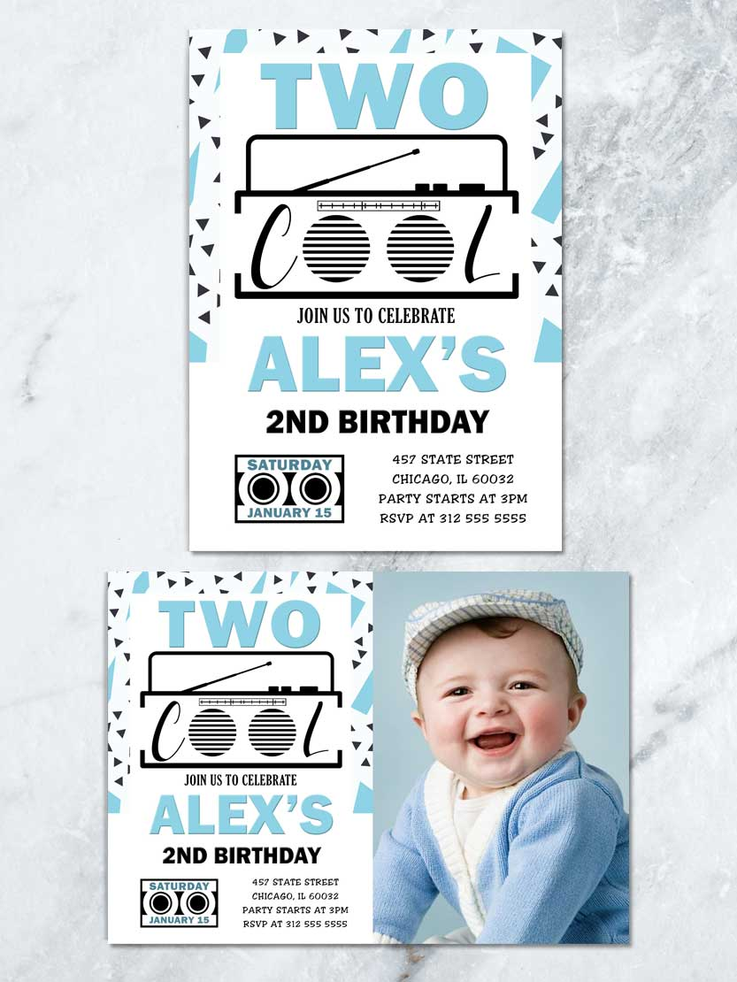 two cool birthday invitation blue and black 2nd birthday invite two cool birthday party boy 2nd birthday printable invite