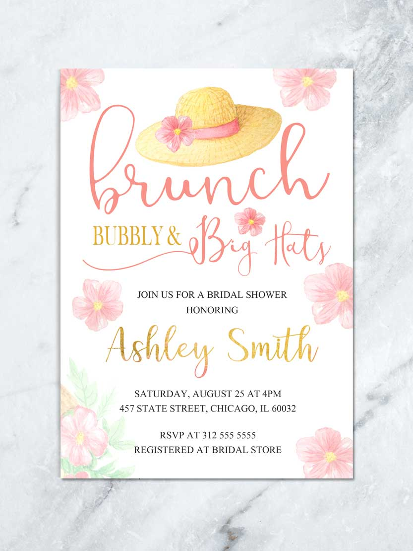 brunch and bubbly shower invite big hat bridal shower invitation garden floral birthday invitation bridal luncheon printable invite