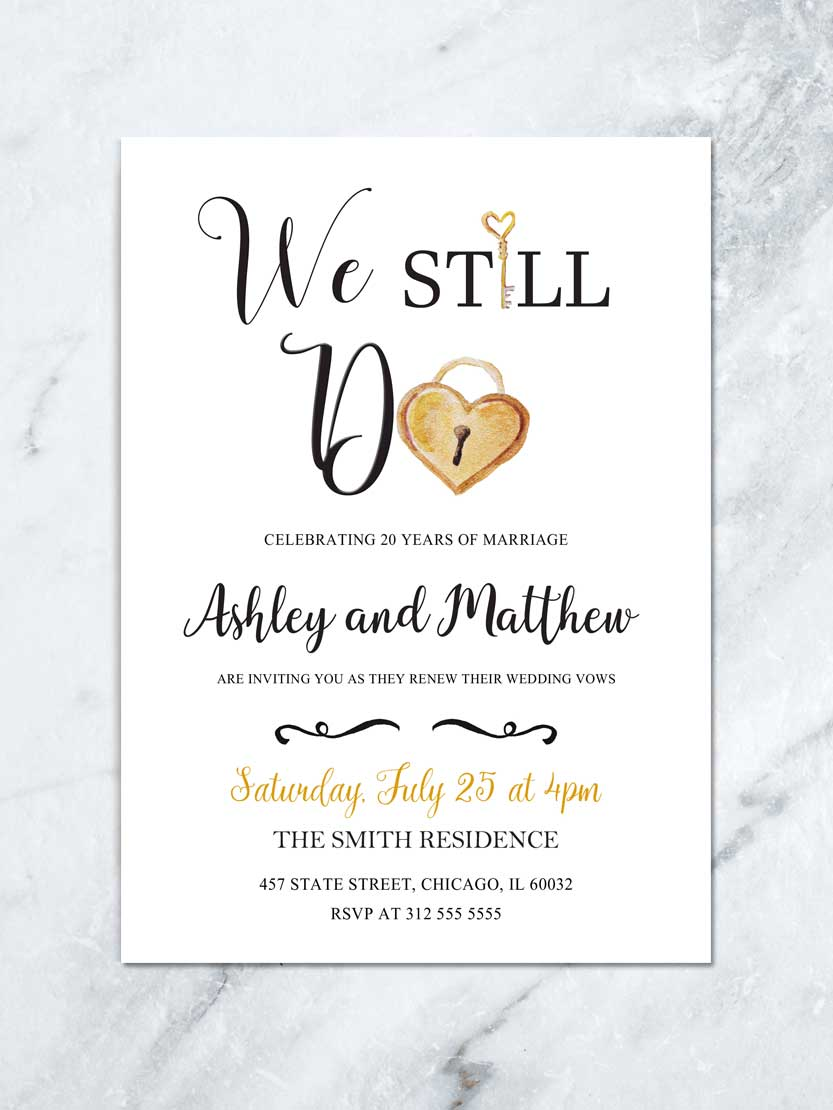 Wedding Vow Renewal DIY Printable Gold and White Wedding Anniversary Party Vow Renewal