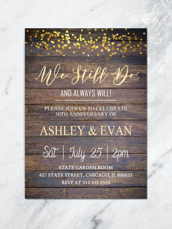 Rustic Wedding Anniversary Invitation We Still Do Vow Renewal Gold Glitter Party Invite Wood Shower