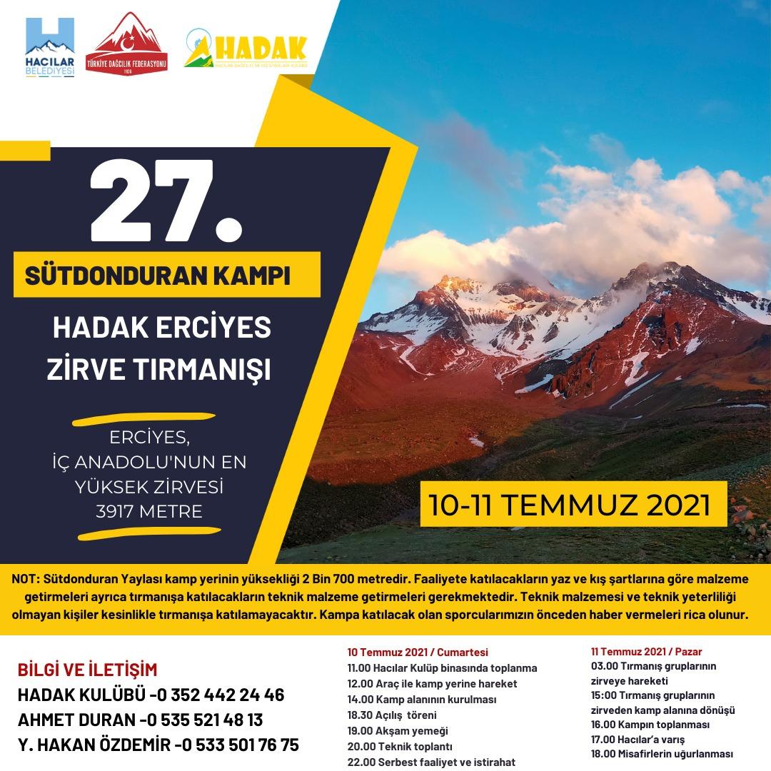 HADAK Erciyes Dağı Sütdonduran Zirve Tırmanış Faaliyeti Daveti