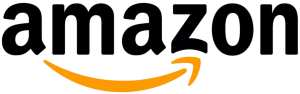 (Amazon logo) lowercase black text: AMAZON. Below name is a orange arrow starting at A and pointing to Z