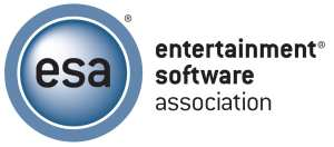 (ESA logo) Blue circle with black lowercase letters inside 'ESA'. Another circle wrapped around the logo circle in similar color. Right of the circular image is full name of company in lowercase letters: ENTERTAINMENT SOFTWARE ASSOCIATION