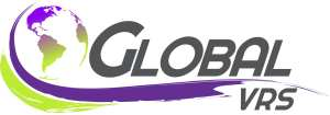 (Global VRS logo) Design of world northern hemisphere in purple changing to green (southern hemisphere). Two stripes (one large- purple), one short - green) swooping the world and underlining the word GLOBAL. The purple stripe ends at 'VRS'.