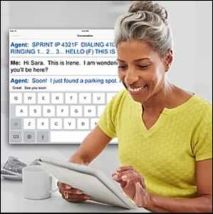 Female person of color with salt and pepper hair in a bun, wearing yellow shirt, smiling while looking at a white tablet. Computer rendered image appears behind woman showing the IP Relay conversation taking place on the iPad.