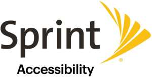 """(Sprint logo) Company name in black print: SPRINT. Followed by a yellow design of 5 bars looks like a bird wing / pin drop. Below company name is """"ACCESSIBILITY"""""""
