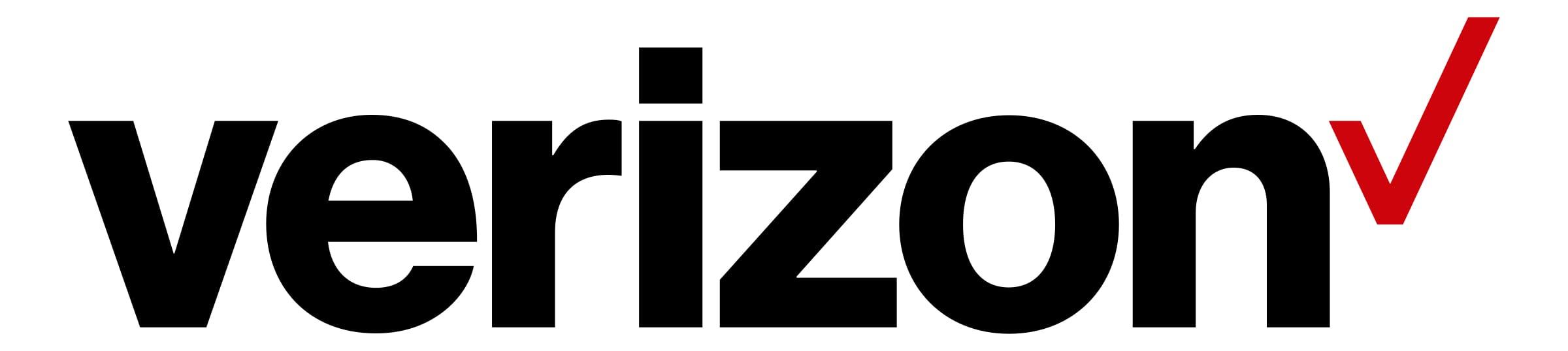 (Verizon logo) Company name in black print: VERIZON, followed by red checkmark.