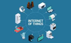 """twelve gadgets (computer, oven, TV, car, refrigerator, etc) in a clockwise position with lines linking to text in middle """"Internet of Things"""""""