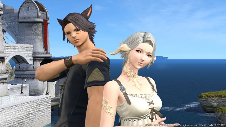 final fantasy xiv online boy with black hair and cat ears stands next to a girl in white with silver hair