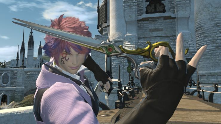 FFXIV man holds hair cutting scissors up to camera