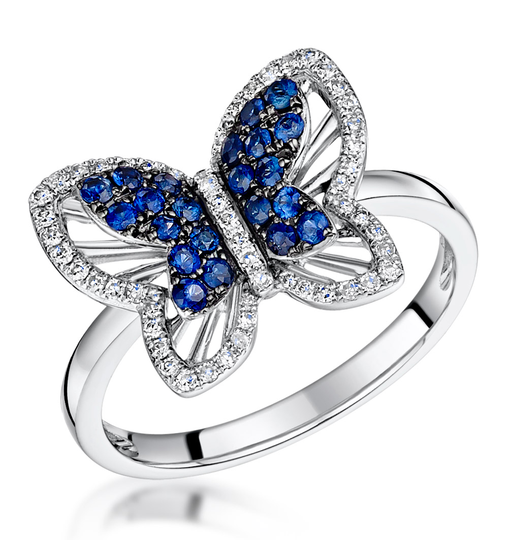 Stellato Collection Sapphire And Diamond Butterfly Ring 9K
