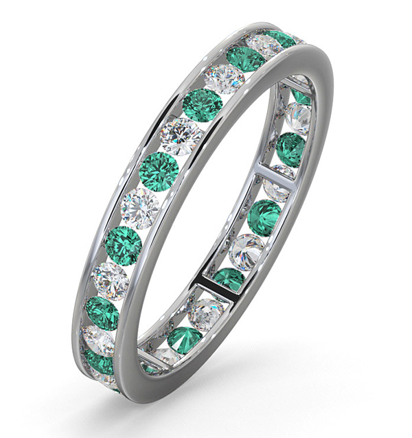 ETERNITY RING RAE DIAMONDS GVS AND EMERALD 120CT 18K