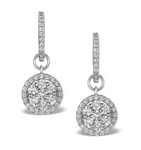 Halo Diamond Drop Earrings - Florence - 1.50ct - in 18K ...