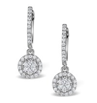 Halo Diamond Drop Earrings