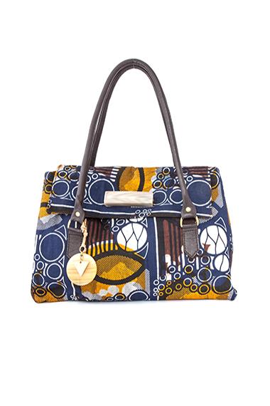 African wax (kitenge) leather, brass fittings