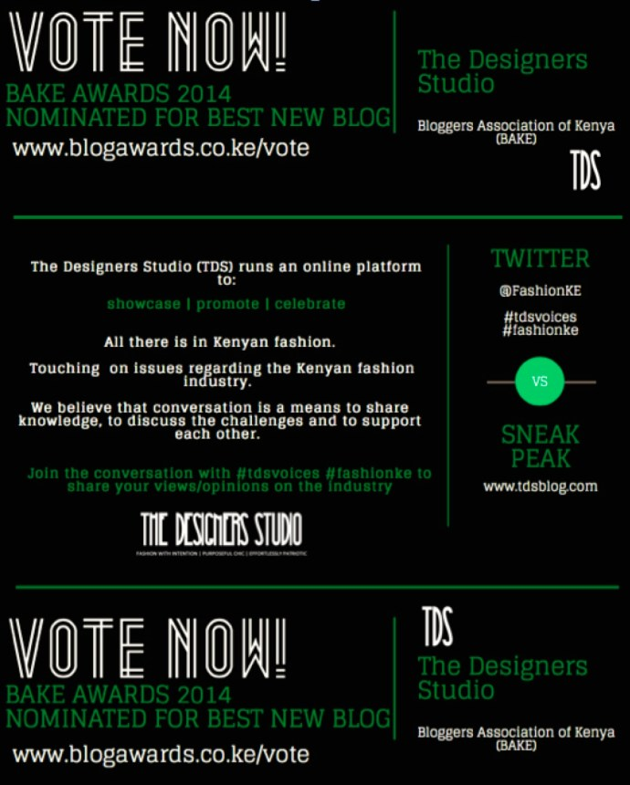 BAKE AWARDS www.blogawards.co.ke www.tdsblog.com for Best New Blog!