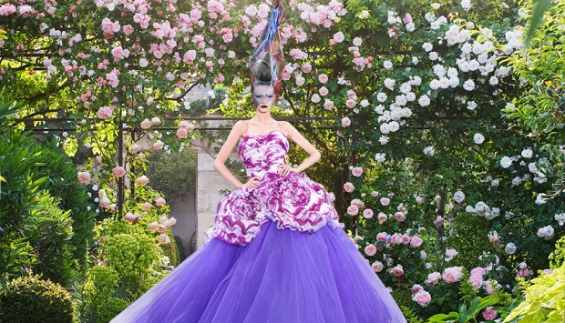 A ballgown in bloom by John Galliano for Dior, with the Provence garden of fashion patron and co-founder of Yves Saint Laurent Couture, Pierre Bergé, in the background. Image: Clive Nichols/Design by Michael Semini and, inset, catwalking.com