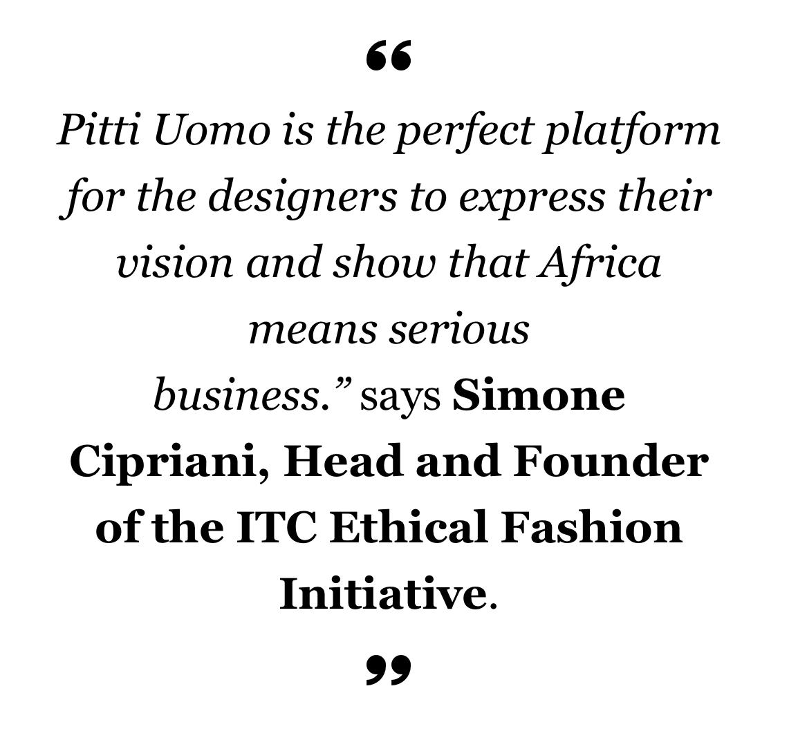 Generation Africa Designers selected by Ethical Fashion Initiative for Pitti Uomo 89, ITC Ethical Fashion Initiative AKJP, Ikire Jones, Lukhanyo Mdingi x Nicholas Coutts & Ur