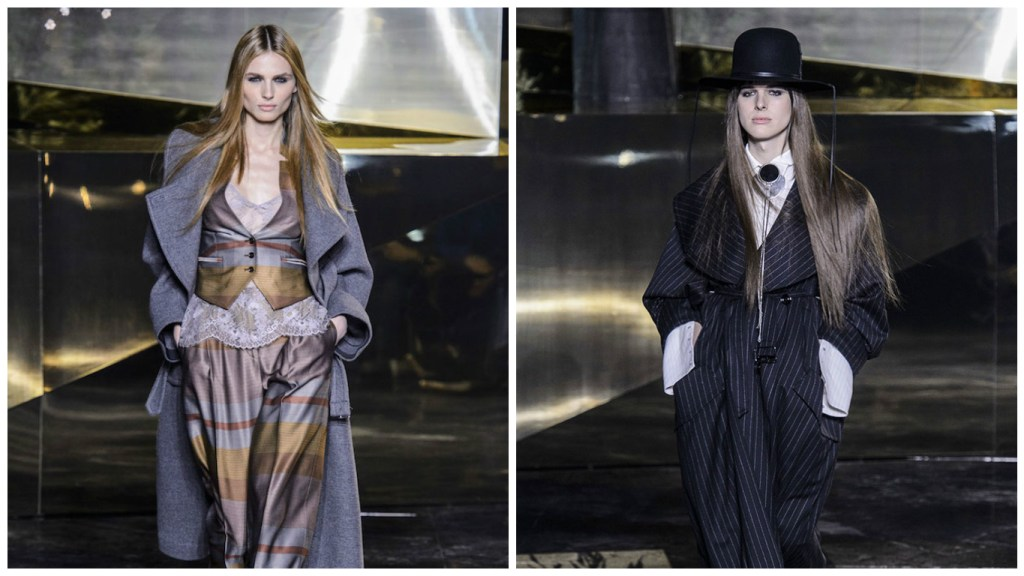 Andreja Pejić (left) and Hari Nef (right) walk for H&M Studio Fall 2016 (Photo: Imaxtree)