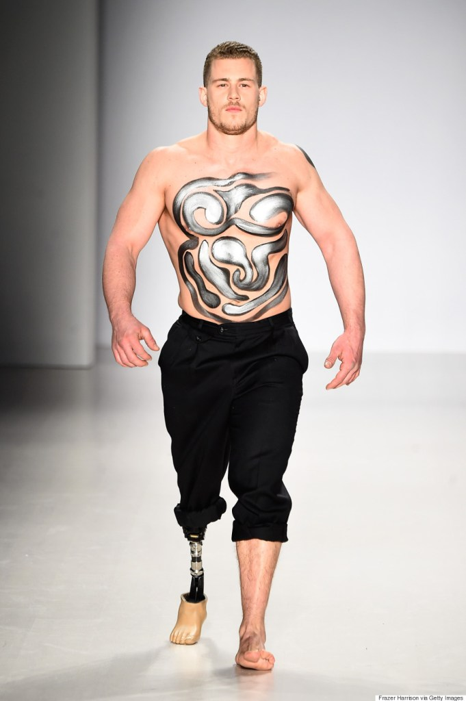 Model Jack Eyers walks the runway wearing Antonio Urzi collection at the FTL Moda fashion show during Mercedes-Benz Fashion Week Fall 2015 at The Salon at Lincoln Center on February 15, 2015 in New York City. (Photo by Frazer Harrison/Getty Images for Mercedes-Benz Fashion Week)