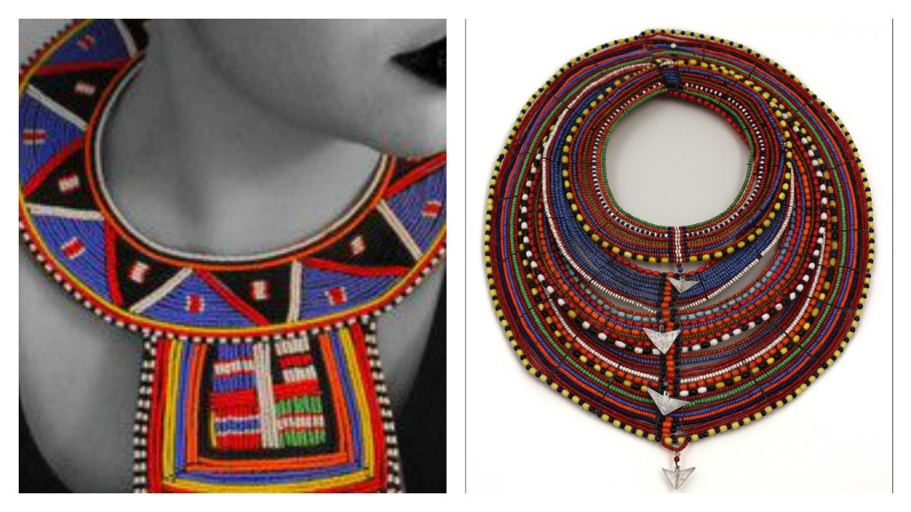 From Left: Zulu style beadwork collar (Image: data.whicdn.com) | Maasai traditional necklaces (Image: Tribal Art Finder)