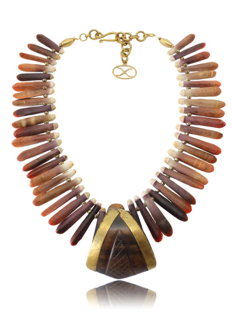 Aurora Necklace - Aurora, the mythical Roman goddess of the morning. The heart of this necklace is a lip plug from the Toposa tribe of South Sudan. [Image: Courtesy of Shikhazuri]