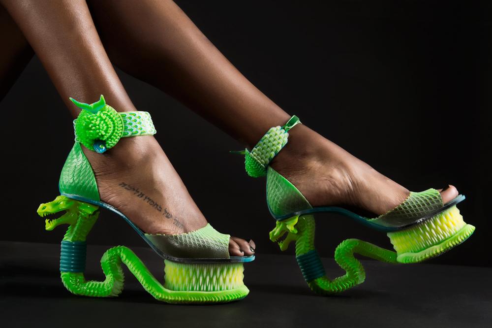 3D printed Extreme Serpent Shoe by Michaella Janse van Vuuren [Image: Merwelene van der Merwe Studio]