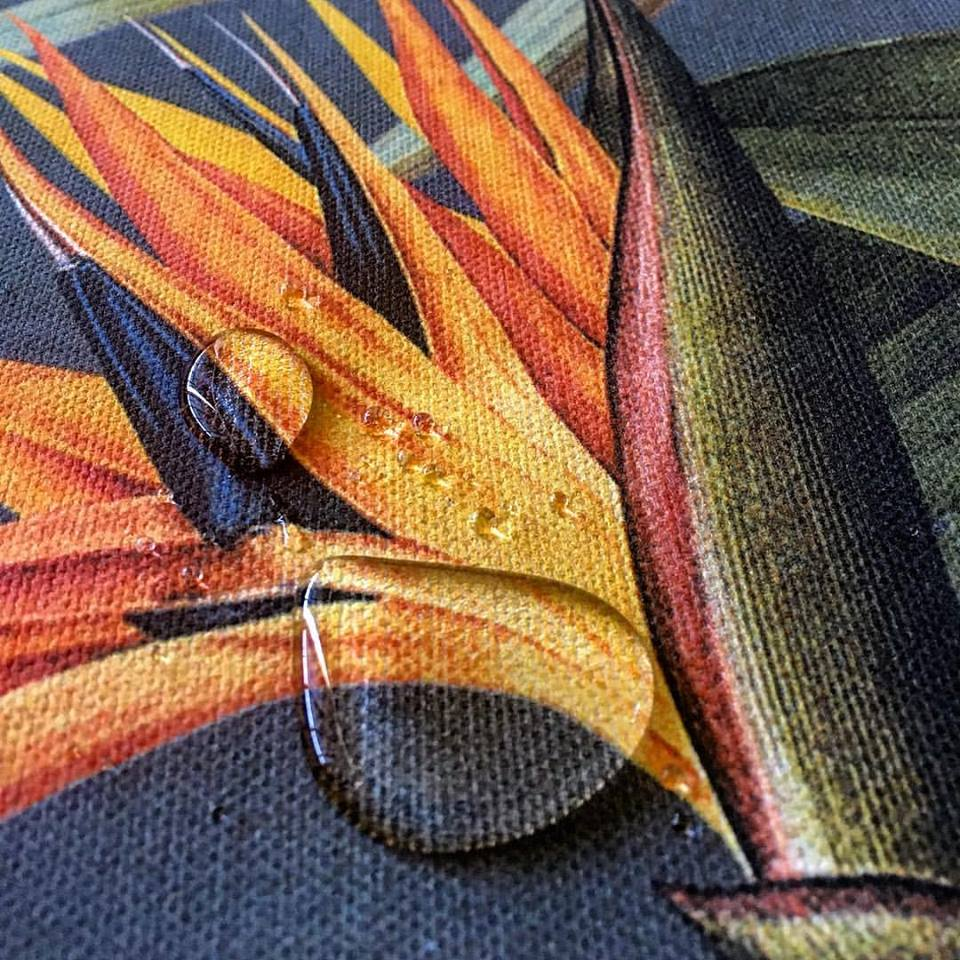 After digital printing the design Imaterial Textile Printers added a water repellant coating for extra protection... All thier products are water based & eco friendly [Image: Courtesy of Imaterial Textile Printers]