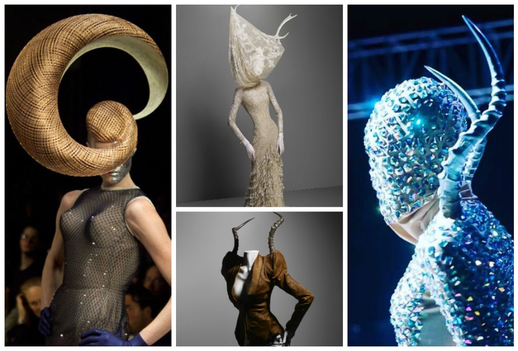 [Image: Courteys of Alexander McQueen except Blue embellished horns by David Alford Harare]