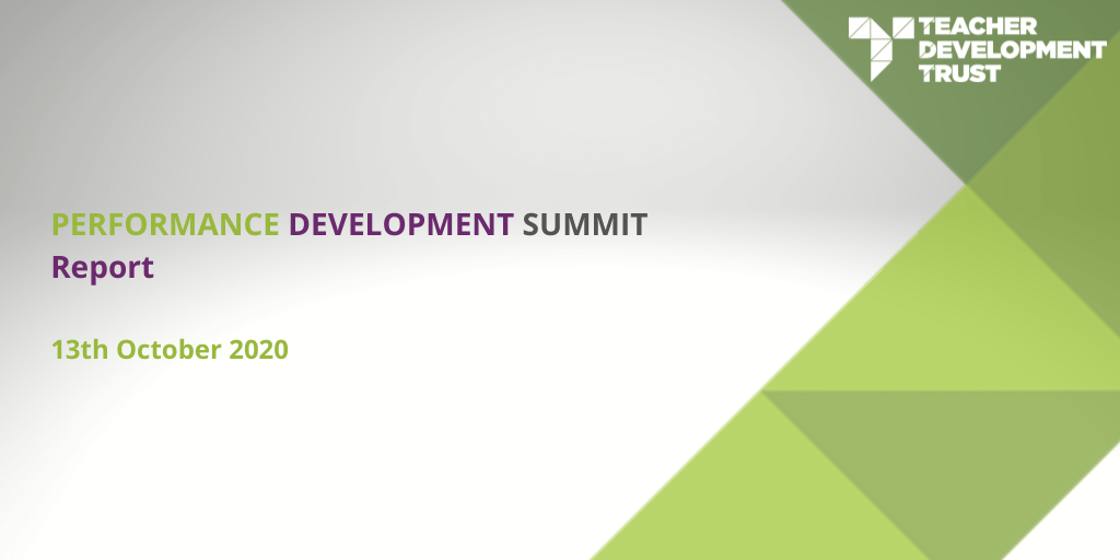 Performance Development Summit Report 13th October 2020
