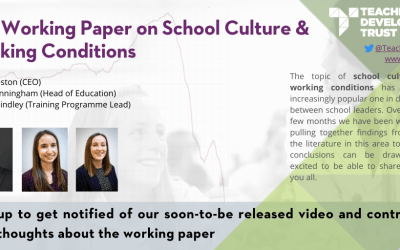 Our Working Paper on School Culture and Working Conditions