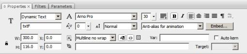 Captura de pantalla del cuadro de diálogo utilizados para controlar la tipografáa para Flash