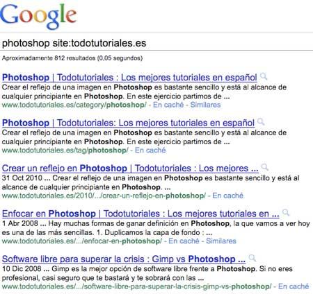 Resultados de búsqueda restringida a un sitio en Google