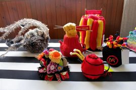 Tecoma Knitters Protest Cosies - Courtesy ABC Gippsland