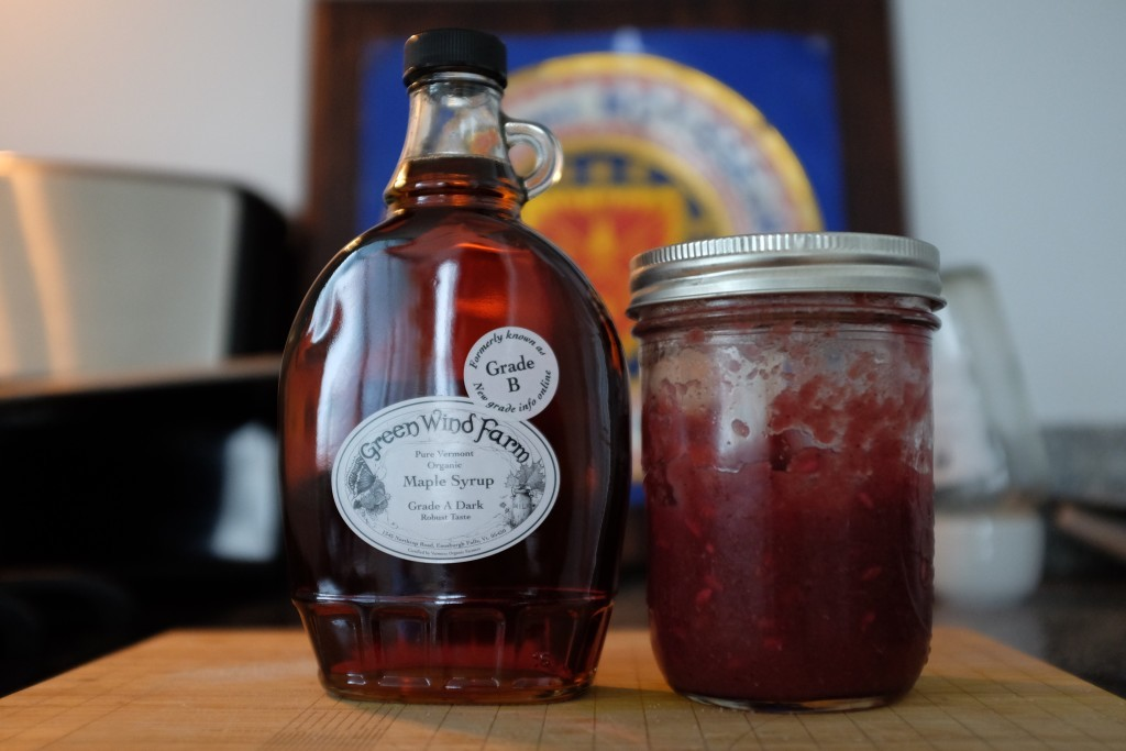 *Real* maple syrup and a homemade apple/pomegranate compote that is worth (seriously worth) fighting for.