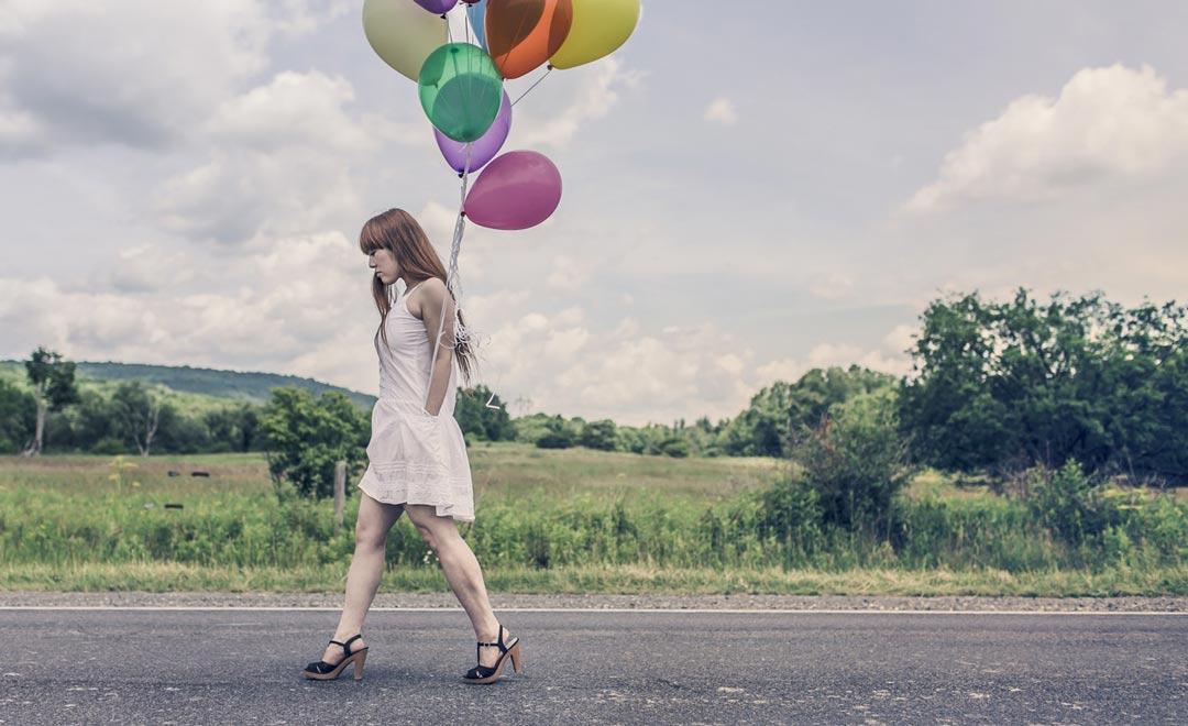international women's day, woman, walking, balloons, road, street