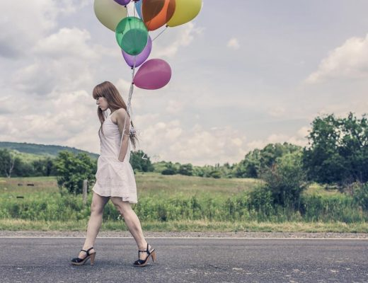 international women's day, woman, walking, balloons, road, street