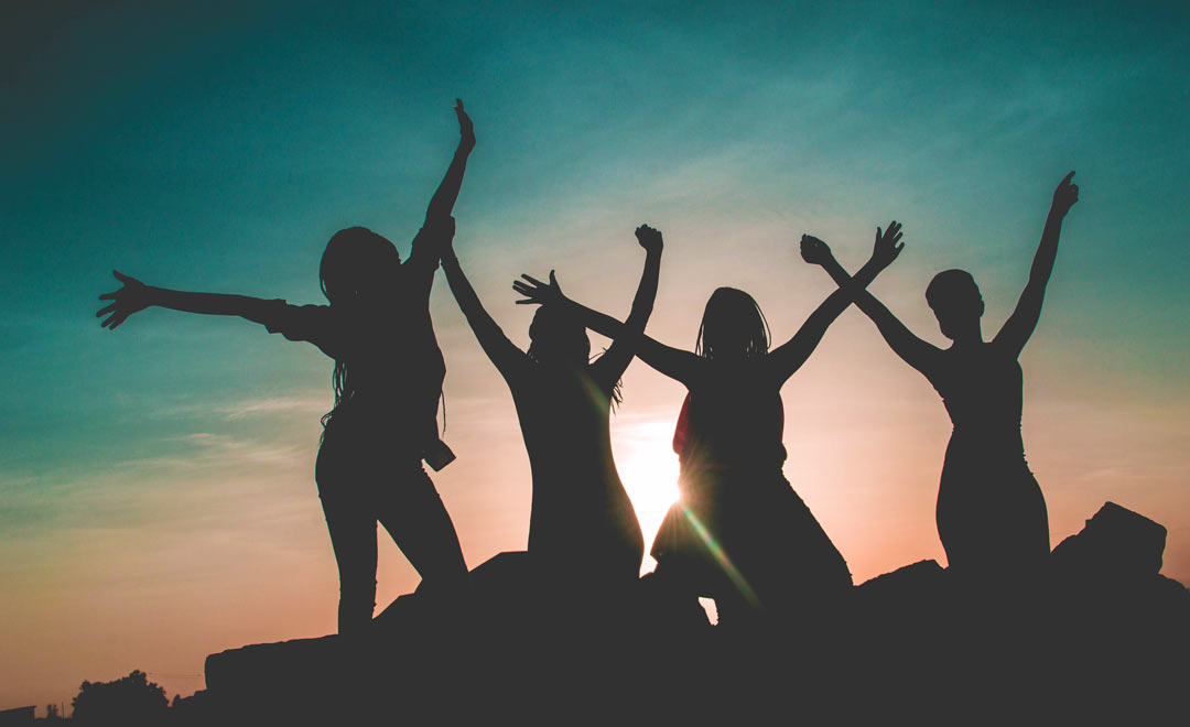 Women's Day, women, females, jumping, celebrate