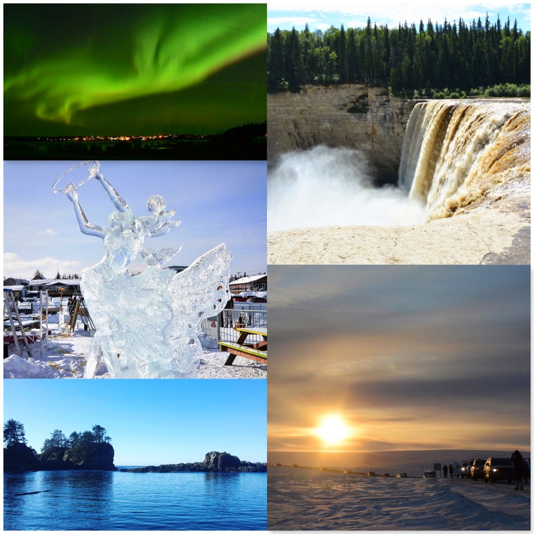 This image is a collage of five scenic Canadian photos. Top left is aurora borealis (northern lights). Middle left is an ice sculpture of a woman dancing. Bottom left is a picture of the ocean taken in Ucluelet, BC. Top right is Alexandra Fall, NWT, on a sunny day. Bottom right shows a convoy of vehicles driving the Inuvik to Tuktoyaktuk Highway in front on the setting sun in winter.