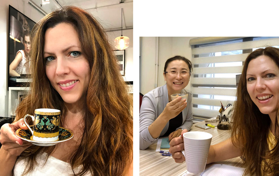 Bridget, tea selfie, baby shower, doctor's office, Hatton Jewellery,