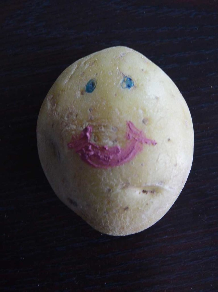 A potato with eyes and a mouth drawn on. My self portrait, Ms. Potato Head.
