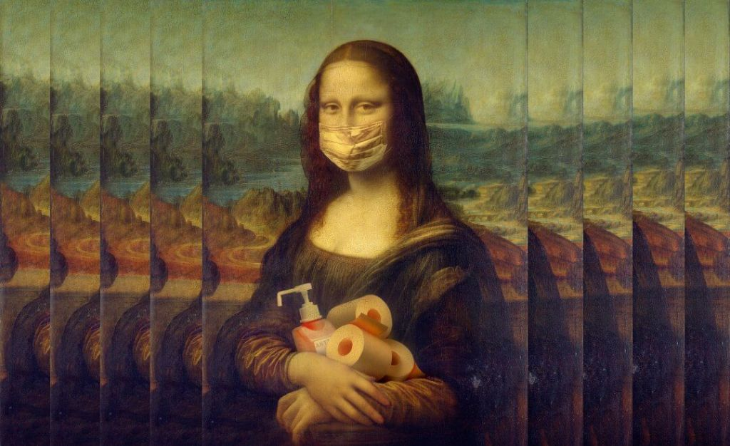 Mona Lisa holding toilet paper and hand sanitizer. 5 Good Things