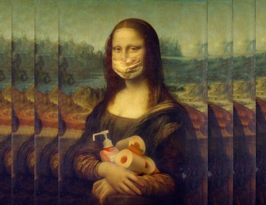 Mona Lisa holding toilet paper and hand sanitizer