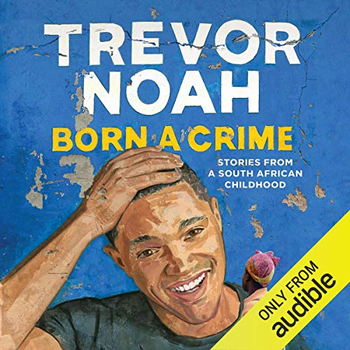 Trevor Noah's book cover, Audible listening
