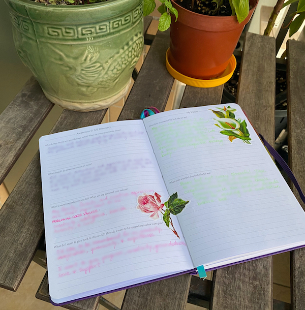 planner open to self discovery pages