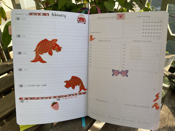 planner open to Lunar New Year and Valentine's Day in weekly view