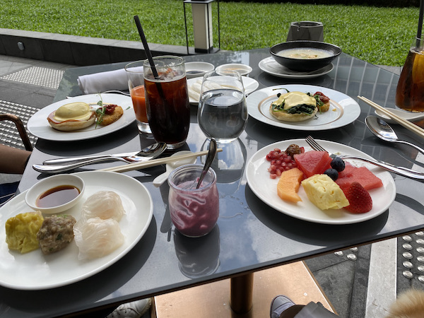 A great breakfast, part buffet, part ordered mains. There are a good 6-7 dishes on the table!