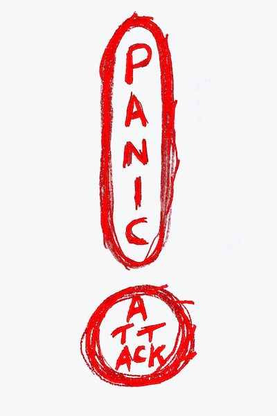 """Inflation Blows rough scribble that reads """"panic attack"""" in the shape of an exclamation point"""